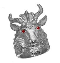 Satan Goat Baphomet occult Pentagram Devil Sterling Silver 925 Ruby Ring... - $88.83