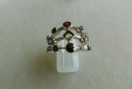 925 STERLING SILVER HAND MADE MULTI STONE FACETED RING OF WT.-6.1 GMS. - $35.96