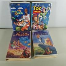 Walt Disney Classic Aladdin, Lion King, Space Jam, Toy Story VHS Movie L... - $13.99