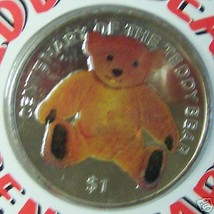 BVI TEDDY BEAR CENTENARY 2002 COLOR CUNI COIN UNC COA - $34.82