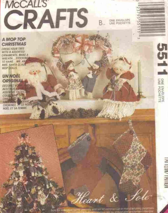Primary image for Pattern 5511 Christmas Decor Santa Dolls Stockings and Ornaments