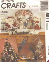Pattern 5511 Christmas Decor Santa Dolls Stockings and Ornaments - $6.99