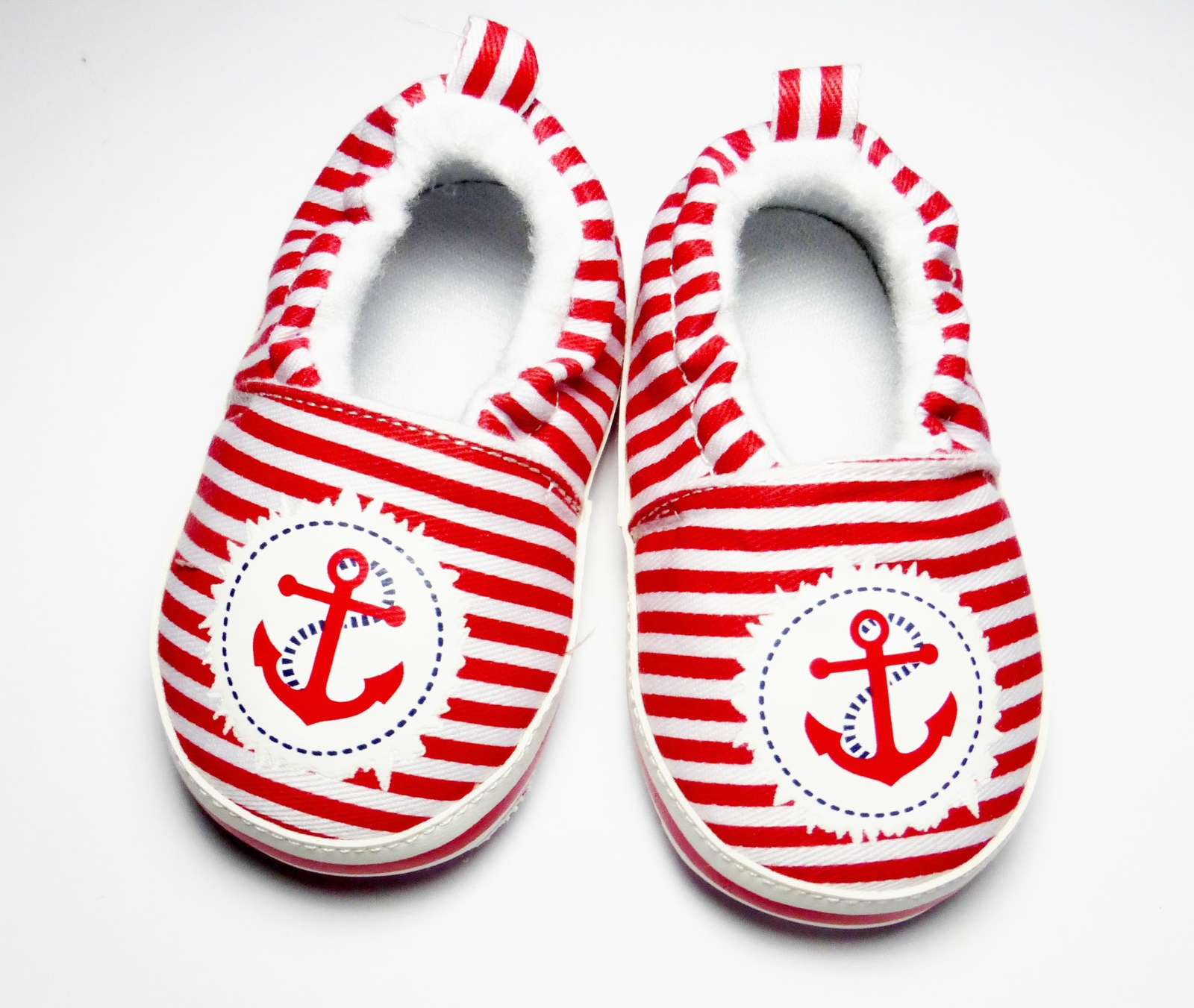 3 6 Months Red Striped Sailor Slip on Shoes for Baby