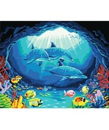 Paint By Number Kit Dolphins Under The Sea Fishes Art DIY Picture 40x50c... - $13.46