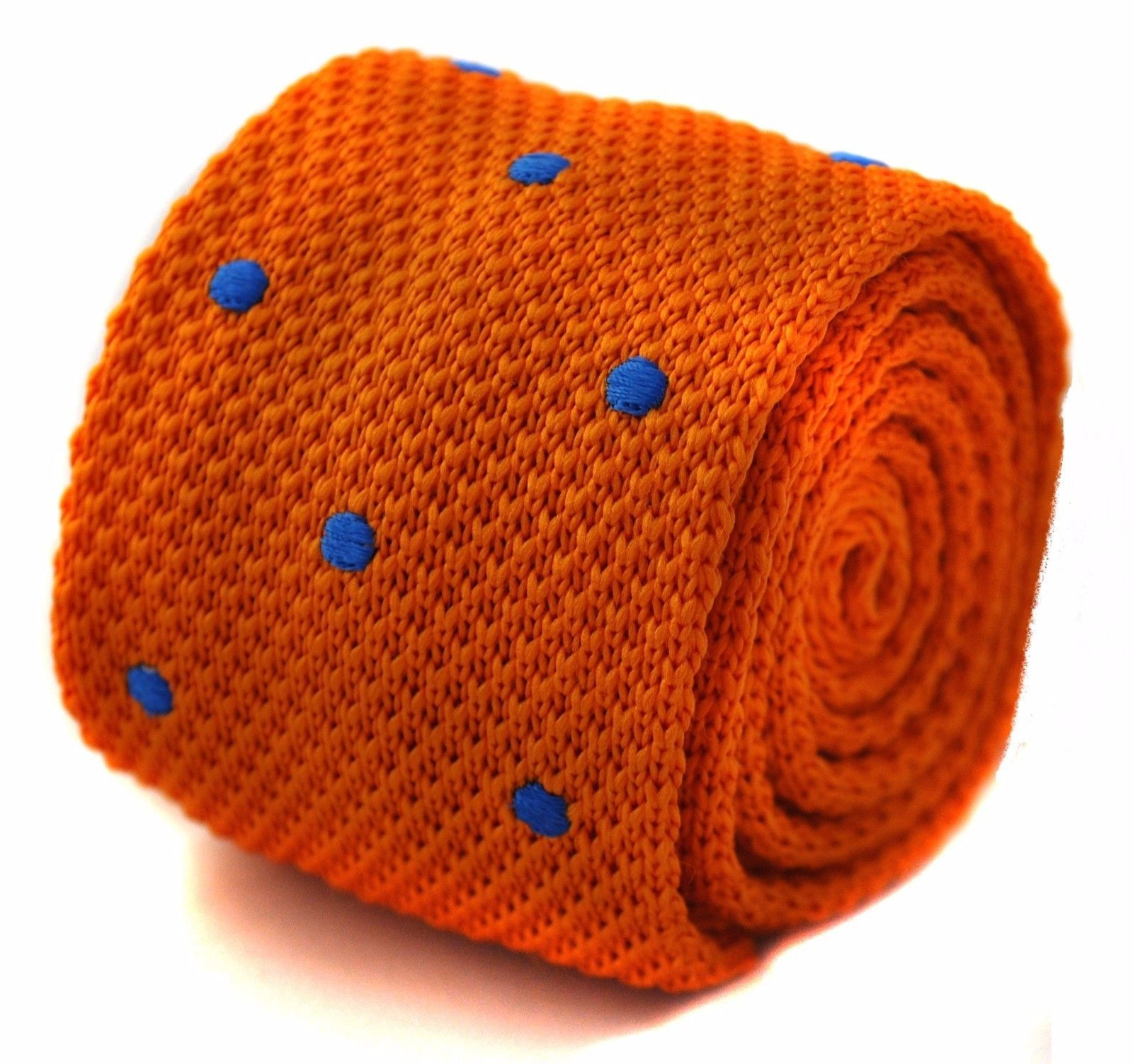 orange skinny knitted tie with royal blue polka spots by Frederick Thomas FT1164