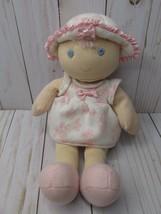 O5 Koala Baby girl first Doll Baby rattle Pink flowers butterflies hat blonde  - $19.79