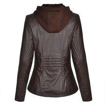 Women Biker Detachable Zipper Hoodie Slim Fit Motorcycle Faux Leather Jacket image 4
