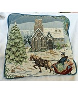 "Winter Scene Tapestry pillow 12"" x 12"" with Church, horse and buggy, tree, snow - $11.50"