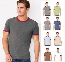 Bella+Canvas Mens Heather Ringer Jersey Tee Tshirt T-Shirt-C3055-3055-8 COLORS! - $11.06+