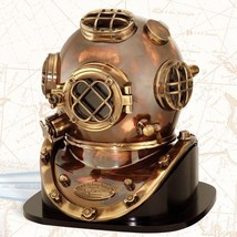 NauticalMart U.S.Navy Replica 1952 Diving Divers Helmet Mark V W/Wooden Base - $329.00