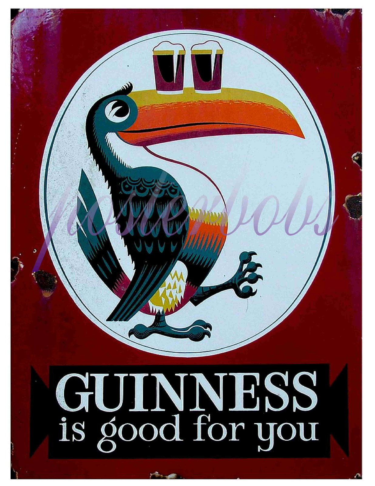 """Guinness is Good For You"" Vintage 13 x 10 in Giclee CANVAS Advert Print"