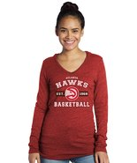 NBA Atlanta Hawks Women's Premium Triblend L/S V-Hoodie, Red,  X-Large - $19.99