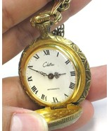 Vintage Art Deco Chateau Gold Intricate Pocket Watch Necklace - $37.00