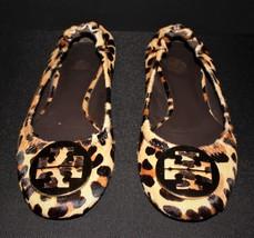 Tory Burch Reva Leopard Calf Hair Gold Logo Ballet Flats Size 8.5M, AUTH... - $65.00