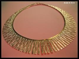 "CLEOPATRA Italian GOLD VERMEIL on STERLING Silver Lunula Tagliata 16"" NE... - $550.00"