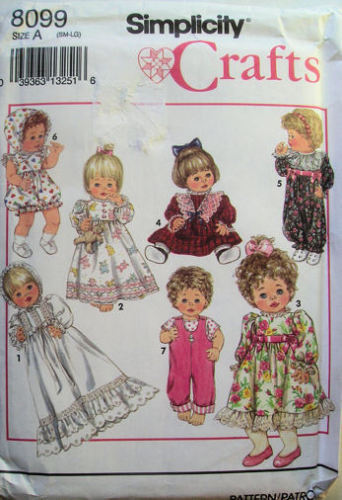 "Doll Clothing Dress Pattern 12"" to 22"" S M L NEW 8099"