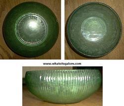 E. O. Brody RIBBED GLASS BOWL green - $8.00
