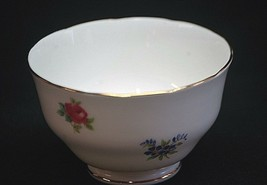 Vintage Floral Bouquet Smooth Mini Open Sugar Bowl Crown Staffordshire E... - $14.84