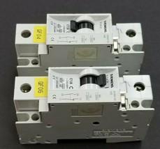 LOT OF 2 SIEMENS 5SX21-C1-6 CIRCUIT BREAKERS W/ 5SX9100-HS CONTACT BLOCKS