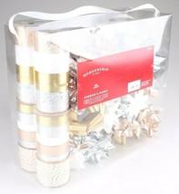 Wondershop Gold Silver White 264 Ft Ribbon 33 Bows Gift Wrapping Kit Set NEW image 2
