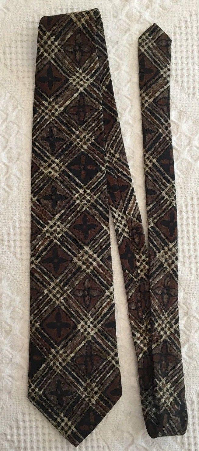 """GEOFFREY BEENE Mens Brown Taupe FLORAL Plaid Necktie Tie 100% Silk 57"""" x 3.75"""""""
