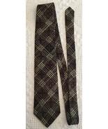 """GEOFFREY BEENE Mens Brown Taupe FLORAL Plaid Necktie Tie 100% Silk 57"""" x... - $9.50"""