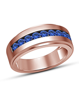 Mens 10K Rose Gold Finish Solid 925 Silver Blue Sapphire Pinky Band Ring... - $67.99