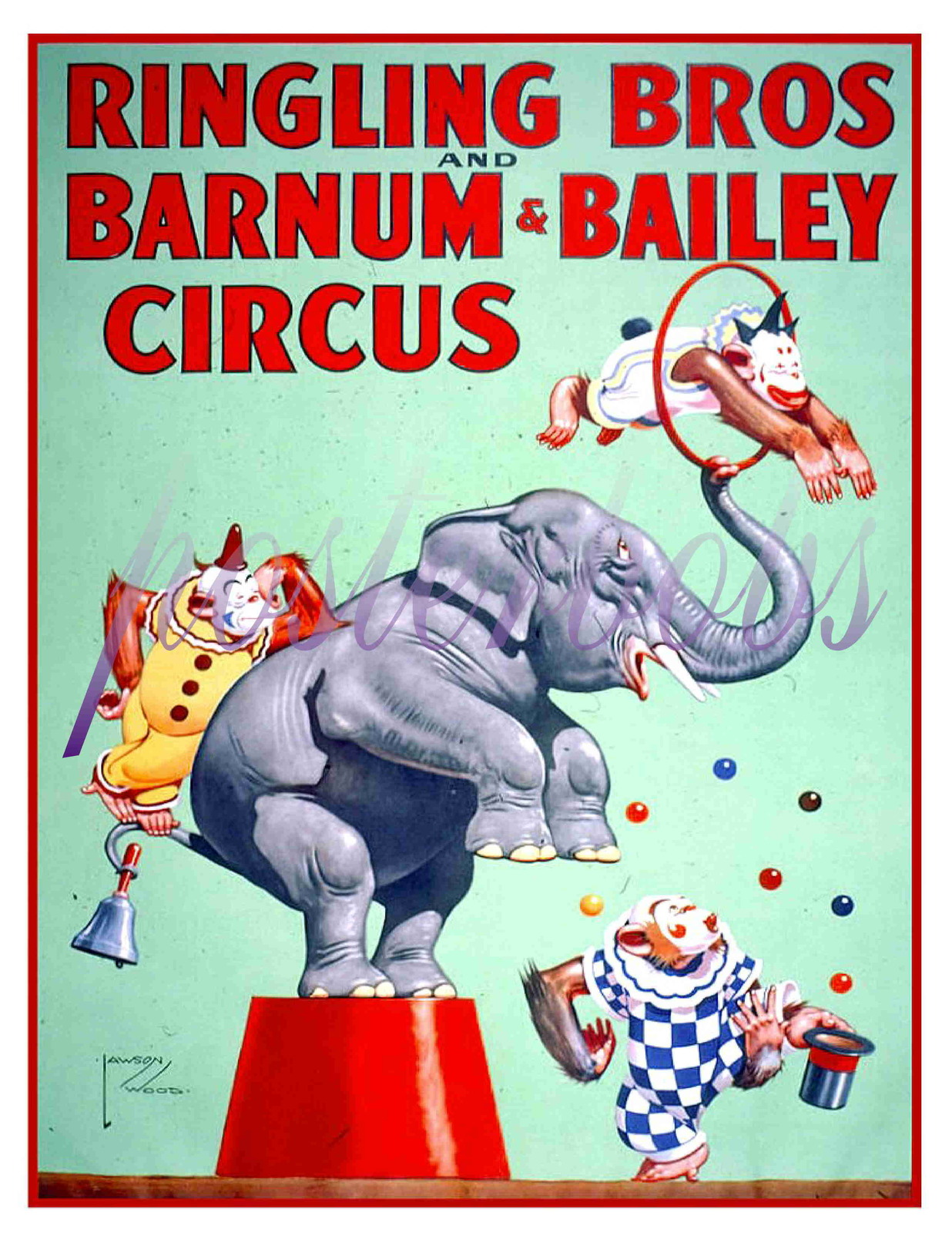 Ringling Bros. and Barnum & Bailey Circus 13 x 10 inch CANVAS Giclee Print