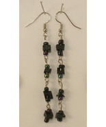 Long Dangle Pierced Earrings of Black Chips and Irridescent Glass Beads - $5.00