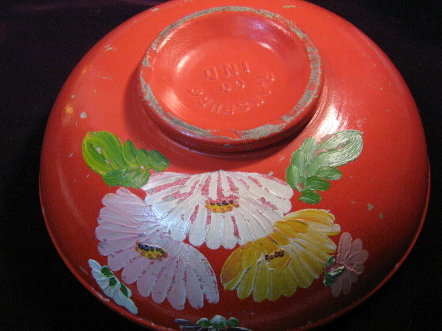 Uhl Ransburg Pottery Asters in Red Mixing Bowl