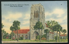 FL Bethesda By-The-Sea Episcopal Church Palm Beach FLorida Vntg Linen Po... - $4.99