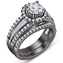 Black Gold Plated Pure 925 Silver Round Cut Diamond Engagement Bridal Ri... - $108.89