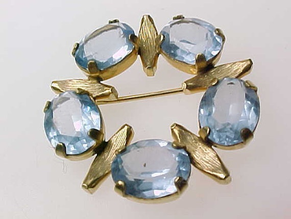 Primary image for BLUE TOPAZ GOLD FILLED BROOCH Pin