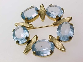 BLUE TOPAZ GOLD FILLED BROOCH Pin - $85.00