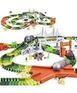 Dinosaur Toys-273pcs Create A Dinosaur World Road Race-Flexible Track Pl... - $33.84