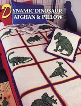 Dynamic Dinosaur Afghan & Pillow Crochet PATTERN/INSTRUCTIONS/NEW - $4.47
