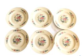 """Homer Laughlin Eggshell Georgian 6 Dessert Plates 7"""" Vtg Flowers Pink Vine - $36.62"""
