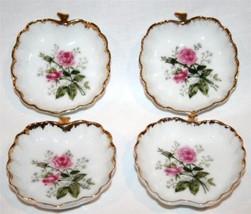 Set/4 Vintage LEFTON CHINA Numbered Rose Butter Pats #501 - $38.00