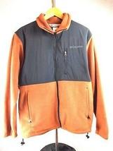 Columbia Mens Fleece Jacket M Medium Orange Black Full Zip Long Sleeve P... - $39.59