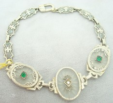 Filigree 14k Gold Camphor / Rock Crystal Bracelet w/Diamonds & Emeralds ... - $1,050.00