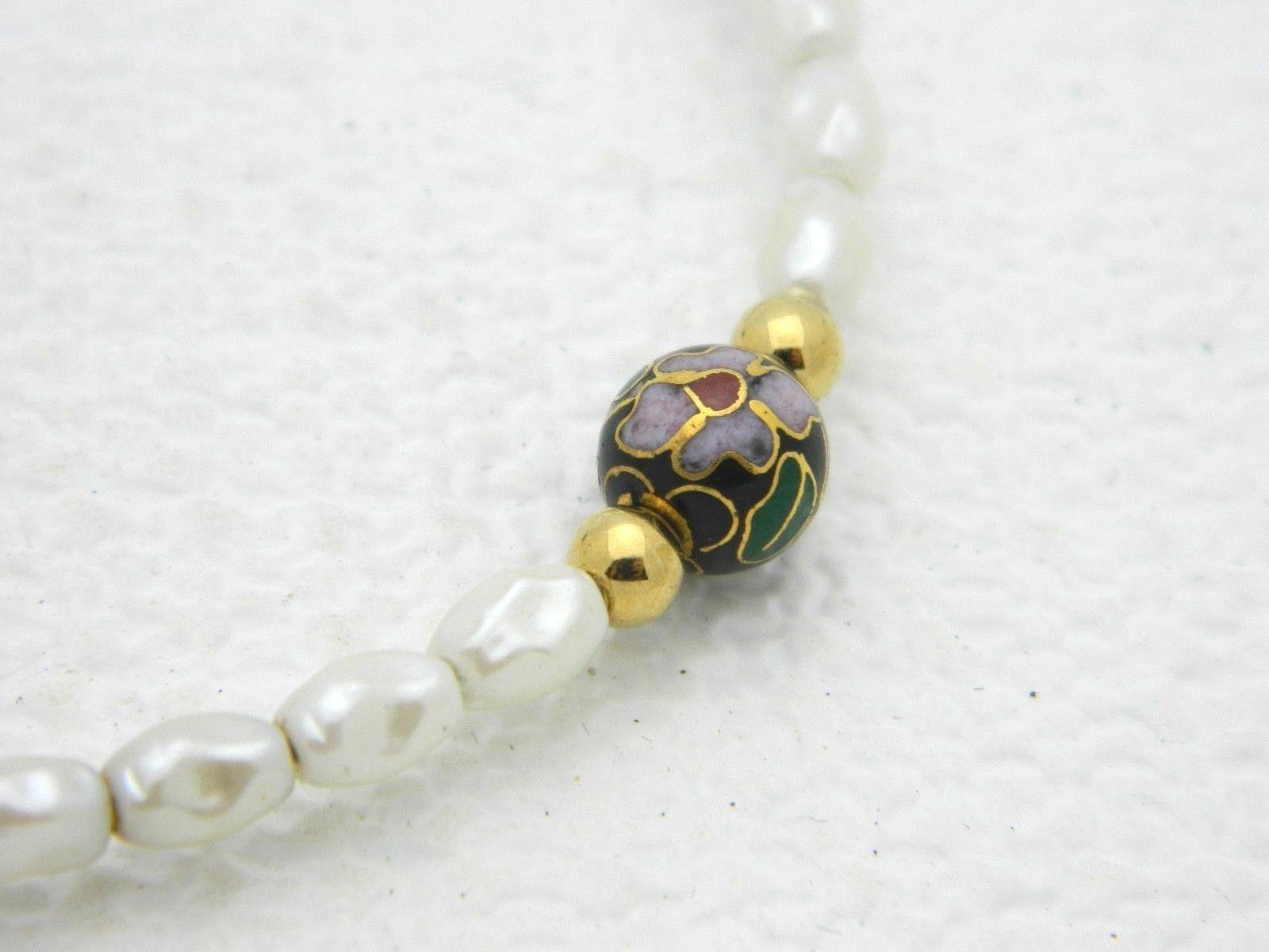 VTG Faux Pearl Black Cloisonne Floral Bead Bracelet image 2