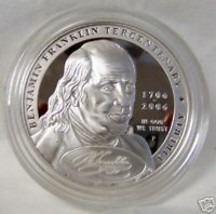 2006 BEN FRANKLIN FOUNDING FATHER SILVER $ PROOF COIN - $87.07