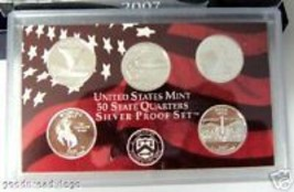2007 US MINT 5 COIN SILVER QUARTERS PROOF GIFT SET - $75.46