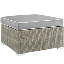 Repose Outdoor Patio Upholstered Fabric Ottoman Light Gray Gray EEI-2962... - $187.75