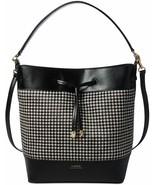 Ralph Lauren Debby II Houndstooth Calf Hair Bucket Hobo Bag, Black $398 - $149.17