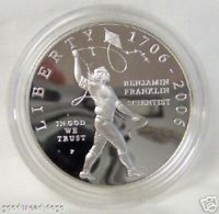 2006 BENJAMIN FRANKLIN SCIENTIST SILVER $ PROOF COIN - $87.07