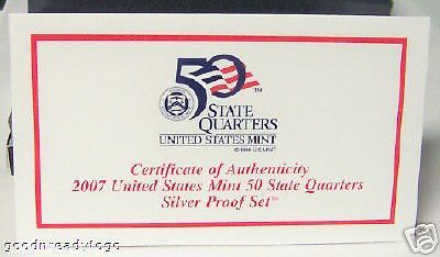 2007 US MINT 5 COIN SILVER QUARTERS PROOF GIFT SET