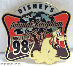 Disney Wdw Pluto Animal Kingdom Park Opening Retro Pin - $29.02
