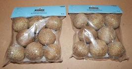 "Decorative Fillers Ashland Rope Balls 2"" Green Glitter & Sequins 2pks 16... - $9.49"