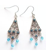 Swarovski Elements Aquamarine Earrings - Births... - $12.00